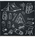 Set of hand drawn camping equipment drawings vector image vector image
