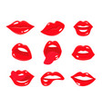 sexy smile woman lips with tongue set girl s vector image vector image