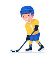 small child plays professional hockey vector image vector image