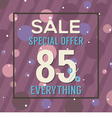 Special Offer 85 Percent On Purple Bubbles vector image vector image