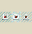 three colored labels with apples vector image