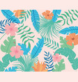 tropical leaves and flowers palms branches vector image