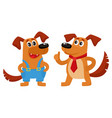 two dog characters in blue overalls and red tie vector image vector image