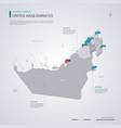 united arab emirates map with infographic vector image