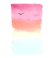 Watercolor background landscape with sea sunset vector image