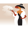 A woman in a fur coat and hat with a cigarette in vector image