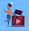 african american girl over vlogger channel screen vector image vector image