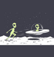 alien catching a flying saucer vector image vector image