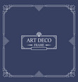 art deco border and frame white lines on blue vector image vector image