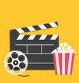 big open clapper board movie reel popcorn cinema vector image vector image