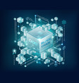 blockchain with connected cube block link vector image vector image