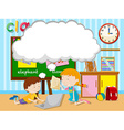 Boy and girl working in group vector image vector image