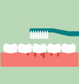 brushing teeth with bleeding on gum and tooth vector image vector image