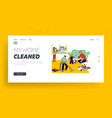 children help mother to clean home landing page vector image vector image