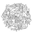 circle shape print with funny cats coloring page vector image vector image