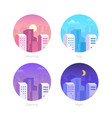 city day - set flat design style vector image