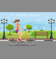 couple riding bicycles in public park vector image vector image
