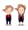cowboy and cowgirl farmer america usa funny vector image