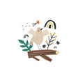 cute little bird character sitting on a branch vector image vector image