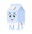cute milk character with cartoon face arms and vector image vector image