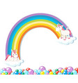 cute unicorn on white background vector image vector image