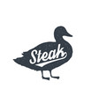 duck lettering typography silhouette vector image
