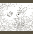 easter bunny with a basket of colored eggs vector image vector image