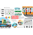 flat public transport elements composition vector image vector image