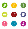 gasket icons set flat style vector image vector image