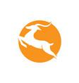 ghazel jump logo design in a sun background deer vector image vector image