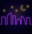 glowing neon city banner with stars and moon town vector image