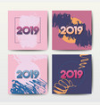 grunge modern postcards for 2019 new year vector image