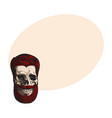 hand drawn human skull with hipster red hairdo vector image vector image