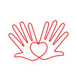 hands love heart romantic linear concept vector image vector image