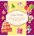 Happy birthday festive elements on pink background vector image