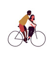 happy couple riding on bike together isolated vector image vector image