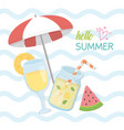 hello summer poster with fresh cocktail icons vector image