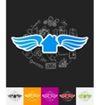 house paper sticker with hand drawn elements vector image