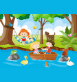 kids relaxing in the park vector image vector image
