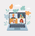 laptop computer with group vector image vector image