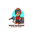 logo bike wash mascot cartoon style vector image