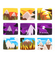 mountain landscapes set in different times of day vector image vector image