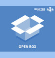 open box icon isometric template vector image vector image