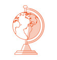 orange shading silhouette cartoon earth globe with vector image vector image