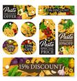 pasta italian macaroni and spaghetti sale tags vector image vector image