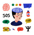 psychology set hand drawn icons on theme of vector image vector image