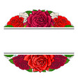 red roses bouquet in oval shape with line sticker vector image vector image