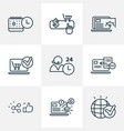 seo icons line style set with e-commerce solution vector image vector image