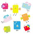 Set of cute square cartoon birds vector image vector image