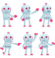 set of robot character in different poses vector image vector image